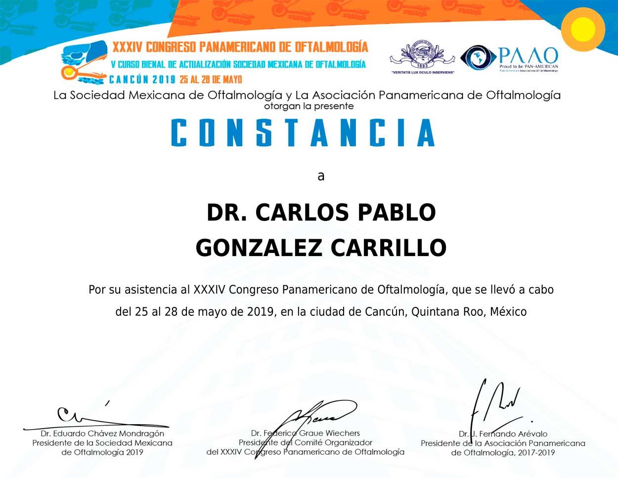 Constancia Congreso Panamericano de Oftalmología