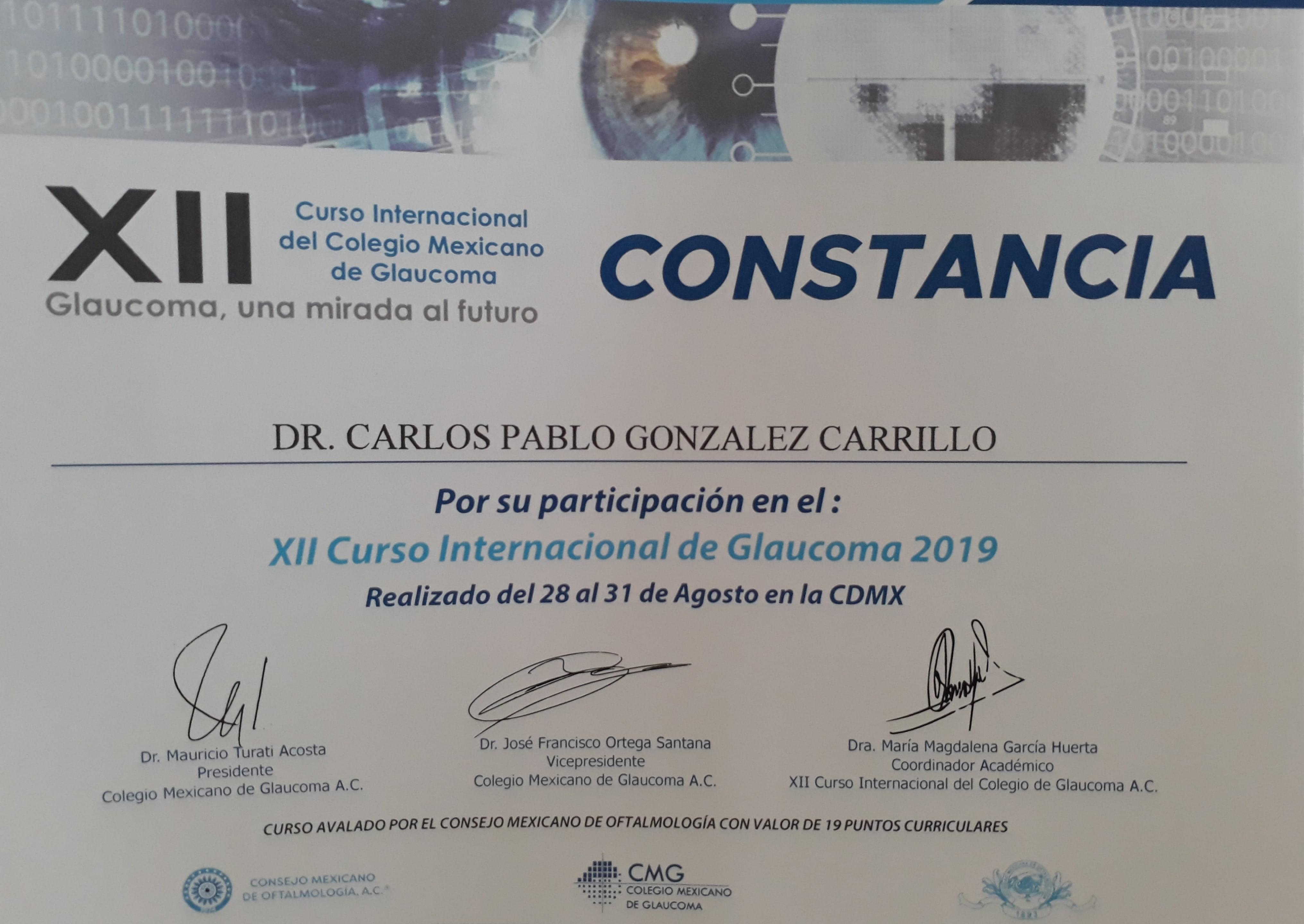 XII Curso Internacional de Glaucoma 2019
